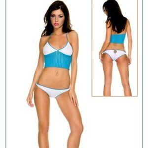 Music legs opaque crochet top and panty